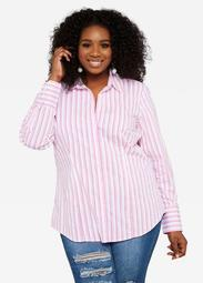 ASGIVES Breast Cancer Awareness Striped Tailored Shirt
