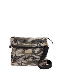 Camo-Print Canvas Crossbody Bag