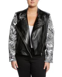 Charlie Faux-Leather Jacket w/ Plaid Sleeves, Plus Size