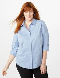 Dressbarn Plus Size Studded Pearl Chambray Top | Shop Scenes