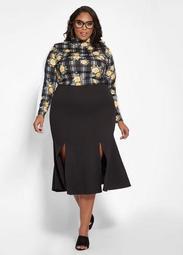 Ponte Knit Flare Skirt