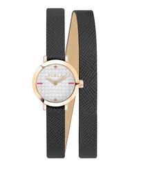 21mm Vittoria Wraparound Watch w/ Leather Strap, Black/Rose