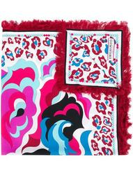 abstract print fringed scarf