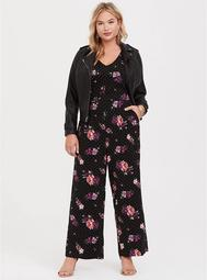 Black Floral Dot Wide Leg Challis Jumpsuit