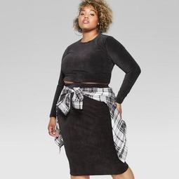 2086793bd6a0a Wild Fable™ Women s Plus Size Long Sleeve Knit Corduroy Blouse -