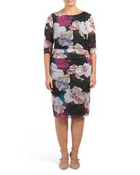 Plus Ruched Mesh Floral Dress