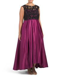 Plus Sheer Lace Bodice Gown With Full Skirt