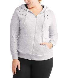 Active Women's Plus Distressed Zip Hoodie
