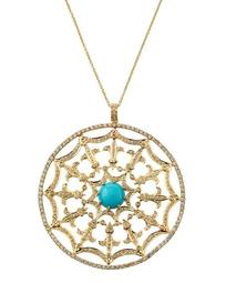 14k Diamond & Turquoise Web Pendant Necklace