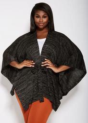 Belted Metallic Knit Kimono