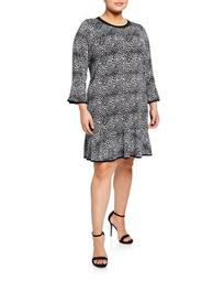 3/4-Sleeve Flounce Dress, Plus Size