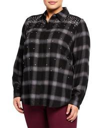 Beaded Plaid Button-Down Shirt, Plus Size