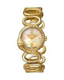 28mm Snake Bracelet Watch, Gold/Peach