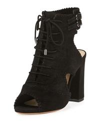 Abbe Suede Peep-Toe Booties, Black