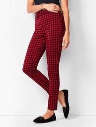 Ankle-Snap Ponte Leggings - Buffalo Plaid