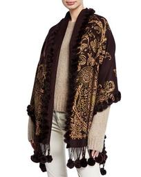 Cashmere Double-Face Paisley Stole w/ Fur Trim & Pompoms