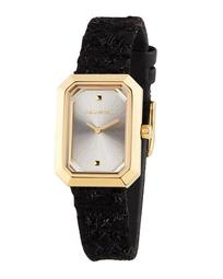 33mm Linda Rectangular Watch w/ Leather, Gold/Black