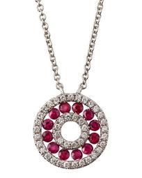 18k White Gold Diamond & Ruby Circle Necklace