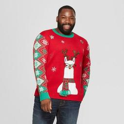 Adult Plus Size Llama Family Ugly Christmas Sweater - 33 Degrees Red