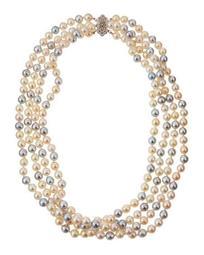 14k Multicolor Akoya Pearl Multi-Strand Necklace, 6.5mm