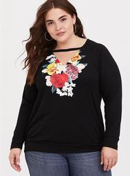 Black Floral Choker Sweatshirt