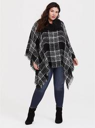 Black and White Plaid Cowl Neck Poncho