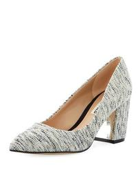 Addie Block-Heel Boucle Pumps