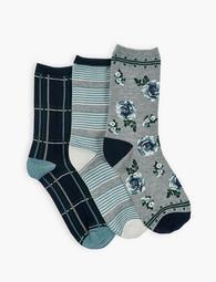 Tossed Rose Crew Socks