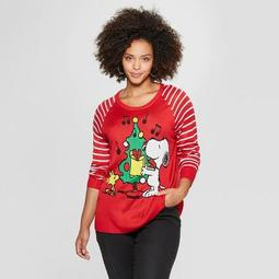 Women's Peanuts Plus Size Snoopy Christmas Sweater (Juniors') Red
