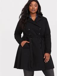 Black Slub Fit & Flare Trench Coat