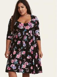 Multi-Color Floral Print Jersey Knit Button Front Shirt Dress