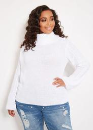 Cowl Neck Cable Sleeve Sweater