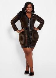 Metallic Stripe Zip Front Dress