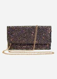 Glitter Clutch With Chain Strap