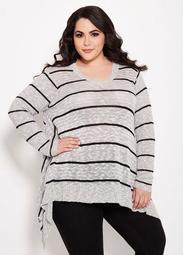 V Neck Striped Sharkbite Sweater