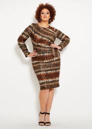 Ruched Animal Print Dress