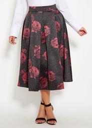 Dot And Rose Print Full Skirt
