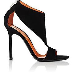 Cutout Suede Back-Zip Sandals