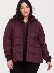 Burgundy Nylon Puffer Jacket