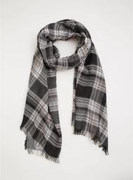 Black & White Reversible Plaid Blanket Scarf