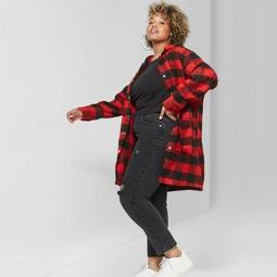 Women's Plus Size Check Hooded Coat - Wild Fable™ Scarlet