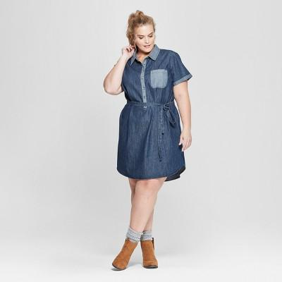 Universal Thread™ Women\'s Plus Size Short Sleeve Denim Shirt ...