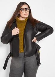 Crop Moto Jacket With O Ring Pull