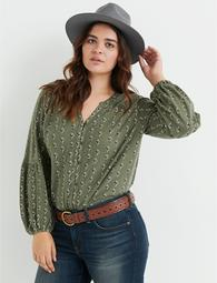 Button Front Puff Sleeve