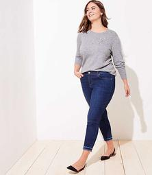 LOFT Plus Double Frayed Skinny Jeans in Dark Indigo Wash