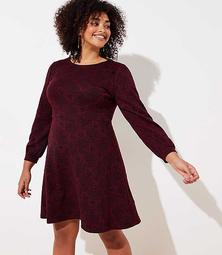 LOFT Plus Leafed Jacquard Flare Dress