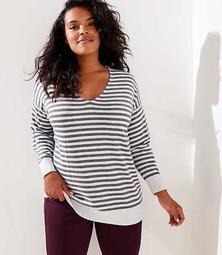 LOFT Plus Striped V-Neck Sweater