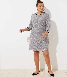 LOFT Plus Shimmer Boucle Flare Dress