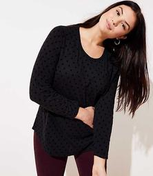LOFT Plus Velvet Dot Long Sleeve Shirttail Tee
