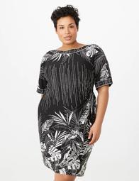 Plus Size Puff-Print Side-Tie Sarong Dress